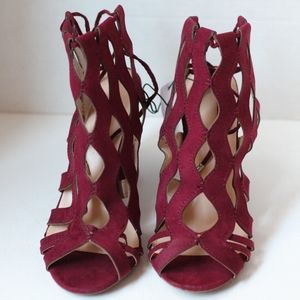 Burgundy Cutout Ankle Tie Heels - Size 7- NWT